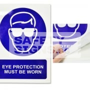 Eye Protection Must Be Worn. Vinyl Sticker.