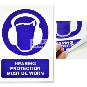 Head Protection Must Be Worn. Vinyl Sticker.