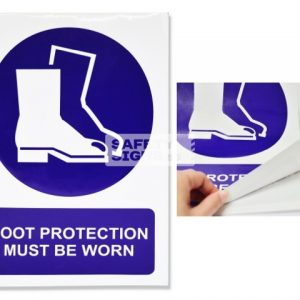 Foot Protection Must Be Worn. Vinyl Sticker.