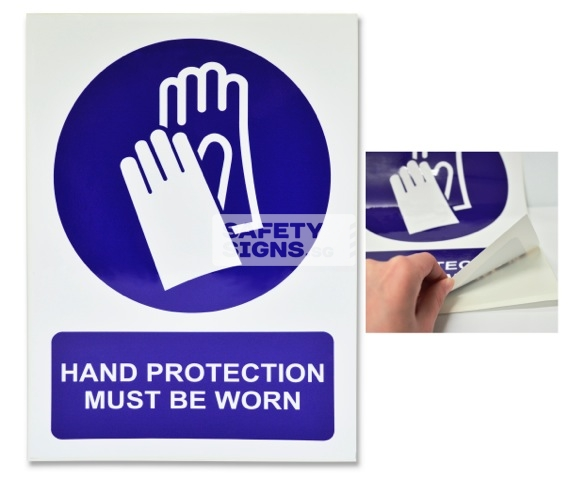 Hand Protection Must Be Worn. Vinyl Sticker.
