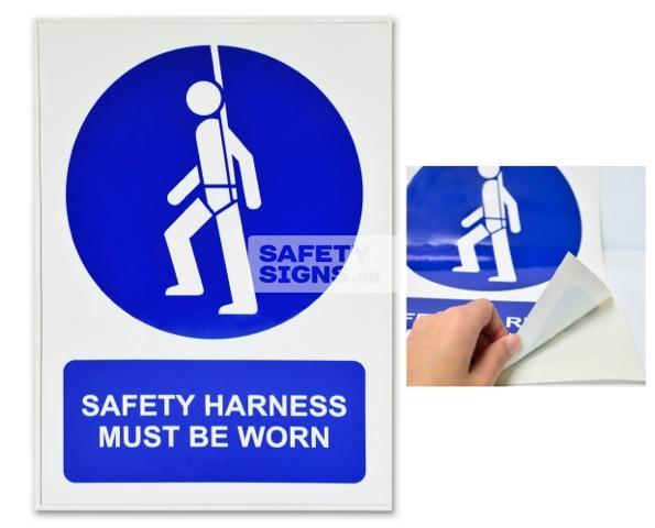 Safety Harness Must Be Worn. Vinyl Sticker.