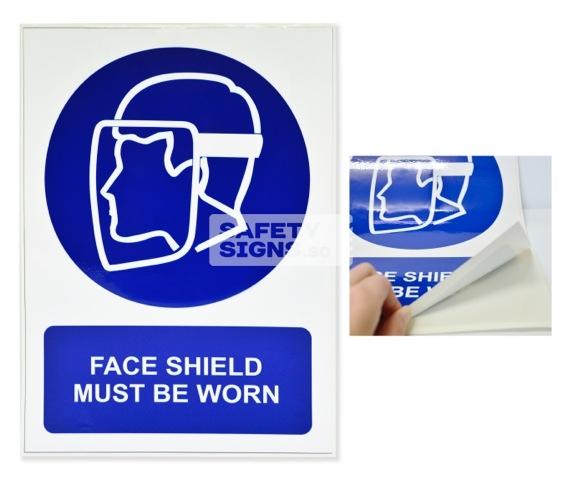 Face Shield Must Be Worn. Vinyl Sticker.