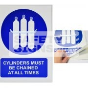 Cylinders Must Be Chained At All Times. Vinyl Sticker.