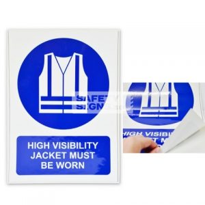 High Visibility Jacket Must Be Worn. Vinyl Sticker.