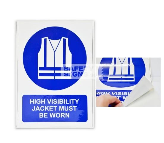 High Visibility Jacket Must Be Worn. Vinyl Sticker.
