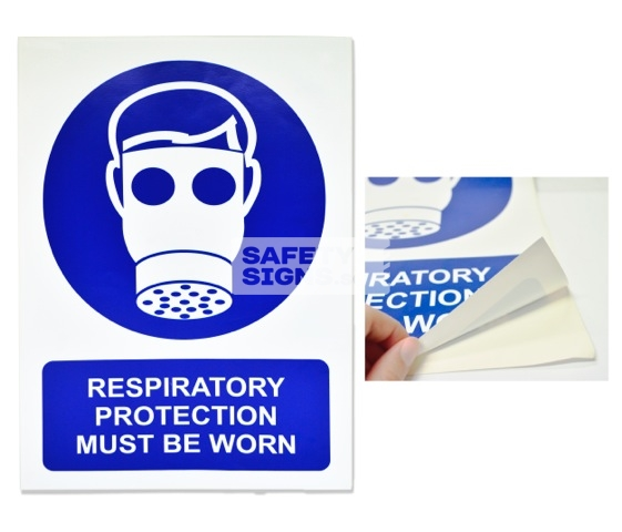 Respiratory Protection Must Be Worn. Vinyl Sticker.