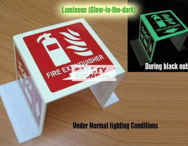 Fire Extinguisher Bent 3 sided. Luminous. Acrylic - Suitable for indoor use.