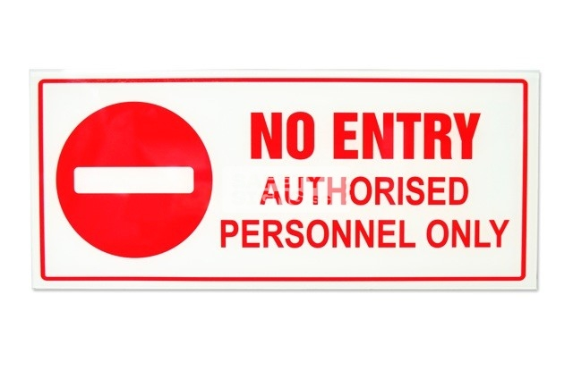 No Entry Authorised Personnel Only. Acrylic - Suitable for indoor use.
