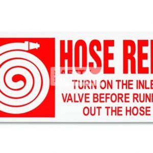 Fire Hose Reel with Instructions. Acrylic. Suitable for indoor use.