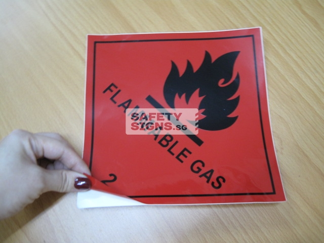 Flammable Gas. Vinyl Sticker.
