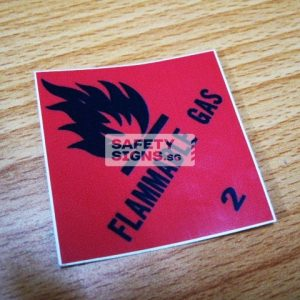 Flammable Gas. Vinyl Sticker.