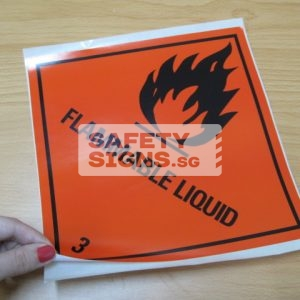 Flammable Liquid. Paper Sticker.