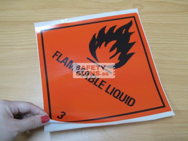 Flammable Liquid. Paper Sticker.