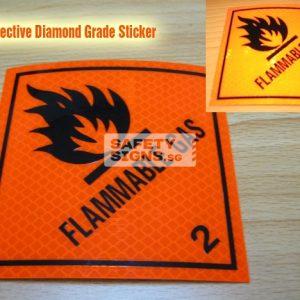 Flammable Gas. Reflective Vinyl Sticker.