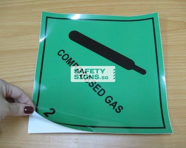 Compressed Gas 2. Vinyl Sticker.