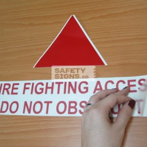 Fire Fighting Access Do Not Obstruct. Vinyl Sticker.