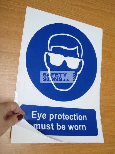 Eye Protection Must Be Worn. Vinyl Sticker.
