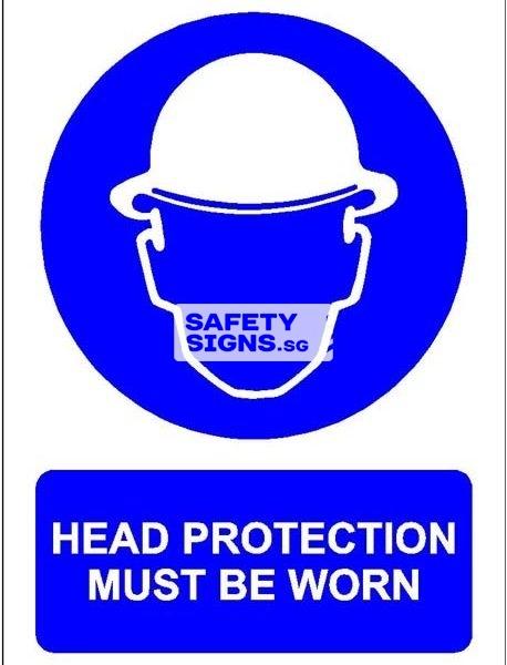 Head Protection Must Be Worn. Vinyl Sticker.