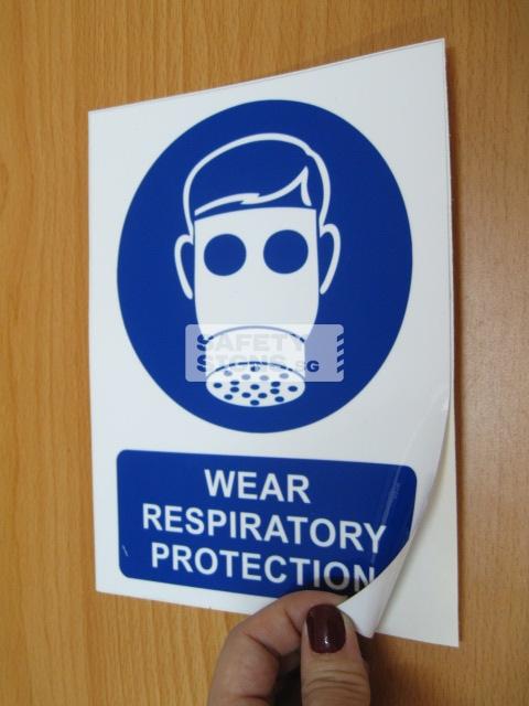 Wear Respiratory Protection. Vinyl Sticker.
