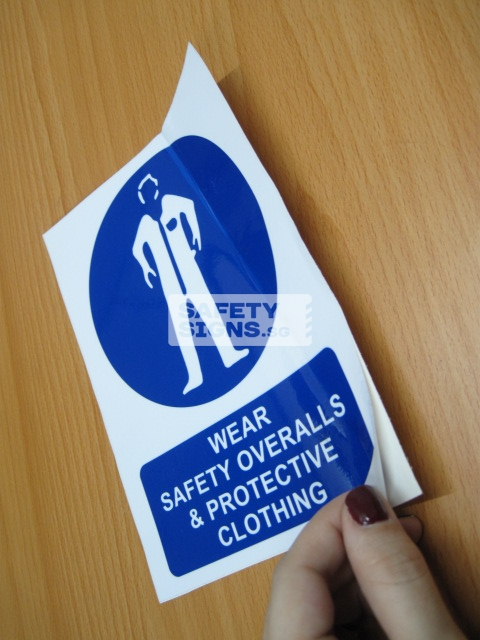 Wear Safety Overalls & Protective Clothing. Vinyl Sticker.
