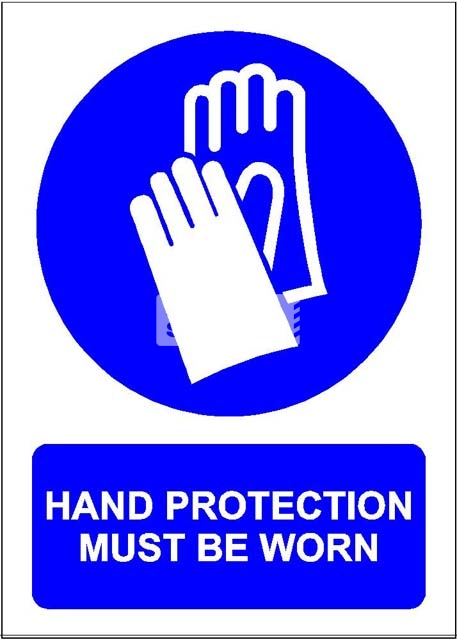Hand Protection Must Be Worn. PVC.