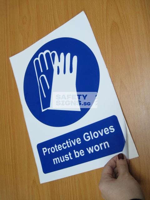 Protective Gloves Must Be Worn.Vinyl Sticker.