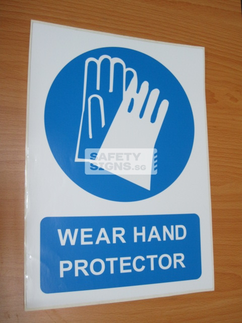 Wear Hand Protector. Vinyl Sticker.