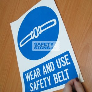Wear And Use Safety Belt. Vinyl Sticker.