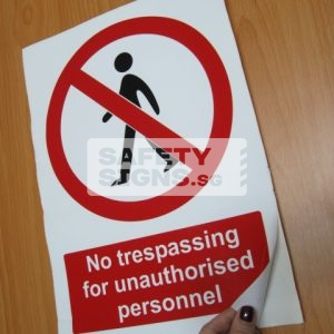 No Trespassing for Unauthorised Personnel. Vinyl Sticker.