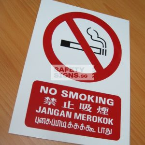 No Smoking 4 Languages. PVC.