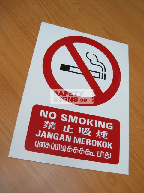 No Smoking 4 Language. Aluminum - Suitable for outdoor use.