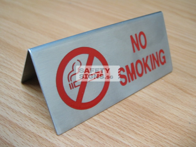No Smoking Table Sign. Stainless steel.