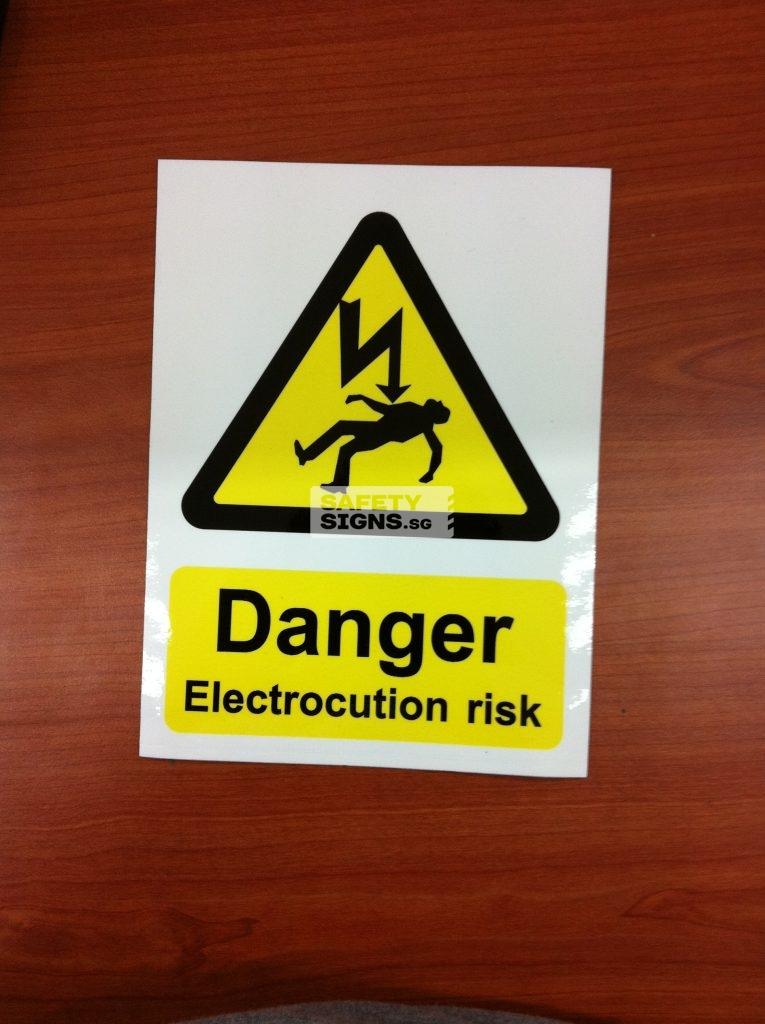 Danger Electrocution risk. Vinyl Sticker.