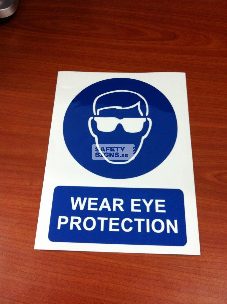 WEAR EYE PROTECTION . Vinyl Sticker