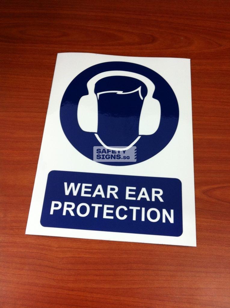 WEAR EAR PROTECTION . Vinyl Sticker