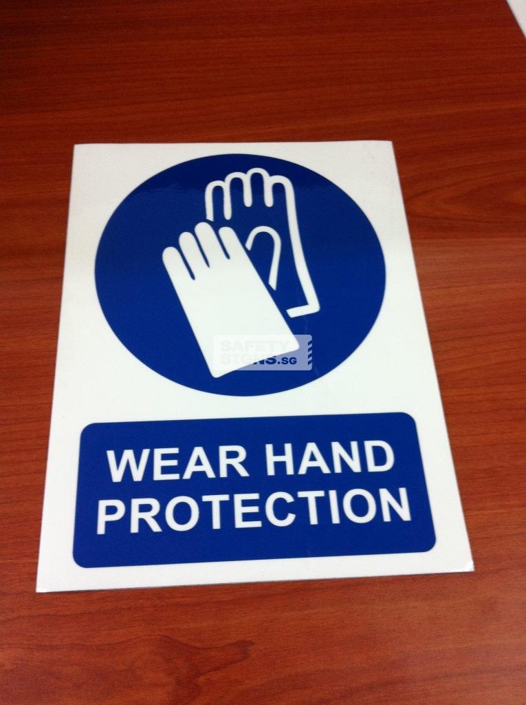 WEAR HAND PROTECTION . Vinyl Sticker