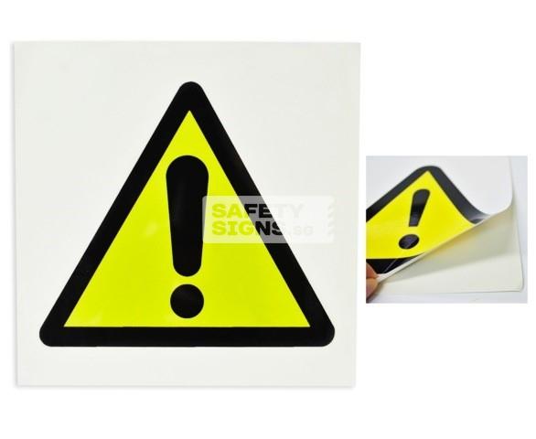 General Warning Sign (W010_VNL). Vinyl Sticker.