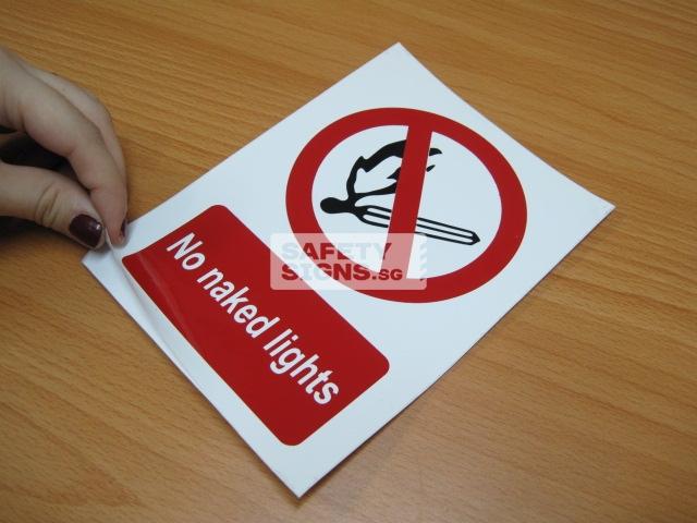 No Naked Lights. Vinyl Sticker.