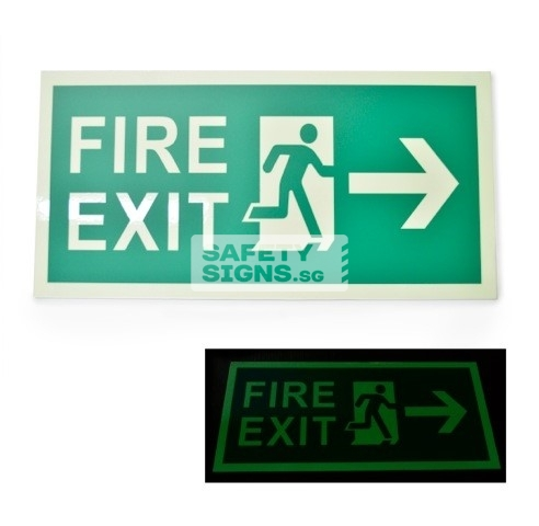 Fire Exit - Luminous - Right, Acrylic - Suitable for indoor use.