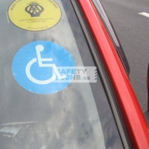 Vehicle Driven by Handicap Label, Static Decal.