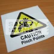 Caution Pinch Points, Vinyl Sticker.