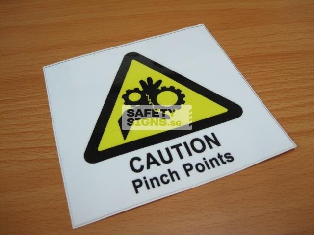 Caution Pinch Points, Vinyl Sticker.