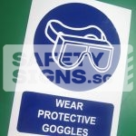 Wear Protective Goggles, Vinyl Sticker.