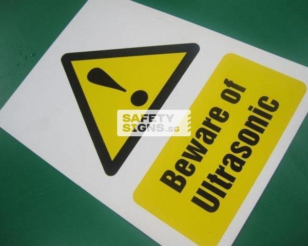 Beware of Ultrasonic, Vinyl Sticker.