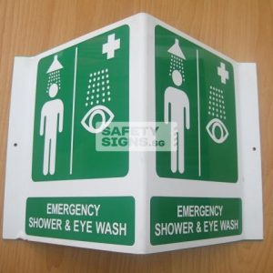 Emergency Shower & Eye Wash. Acrylic - Suitable for indoor use.