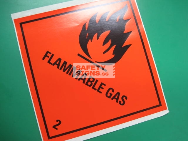 Flammable Gas. Paper Sticker.