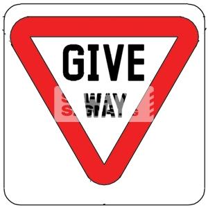 GIVE WAY, Aluminum sign, Reflective.