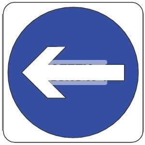 TURN LEFT, Aluminum sign, Reflective.