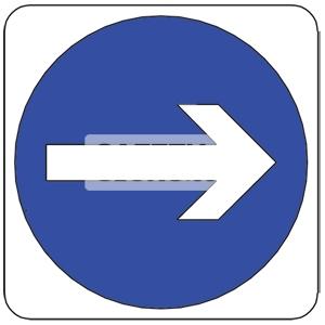 TURN RIGHT, Aluminum sign.