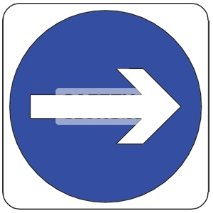 TURN RIGHT, Aluminum sign, Reflective.